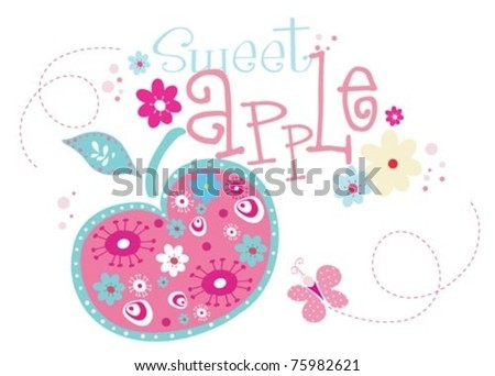 Sweet Print Design with apple. - stock vector