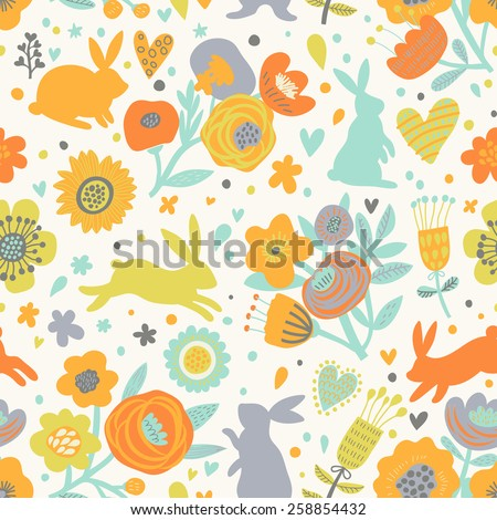 Sweet rabbits in awesome poppy flowers. Lovely childish seamless pattern in cartoon style. Seamless pattern can be used for wallpapers, pattern fills, web page backgrounds, surface textures - stock vector