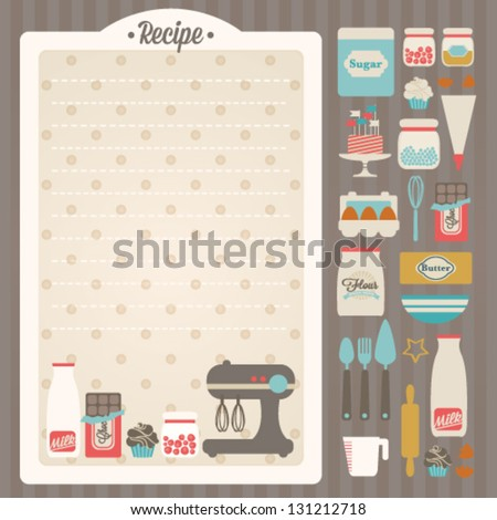 Sweet Recipe Vector Card Template Kitchen Stock Vector 131212718 ...