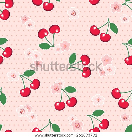 Sweet, red cherries with blossoms, on retro style pink polka dot background. Seamless design. EPS10 vector format. - stock vector