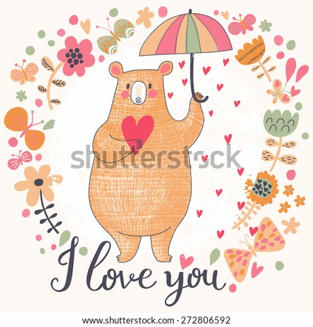 Sweet romantic card with cute bear and the rain made of hearts in flowers. Bright invitation card in vector - stock vector