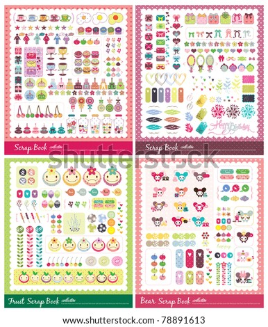 sweet scrap book collection - stock vector