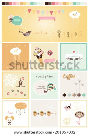 Sweet Scrapbook Collection 3 - stock vector
