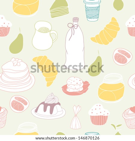 Sweet seamless pattern. Colorful vector, good for backgrounds, fabric, kitchen and cafe stuff - stock vector