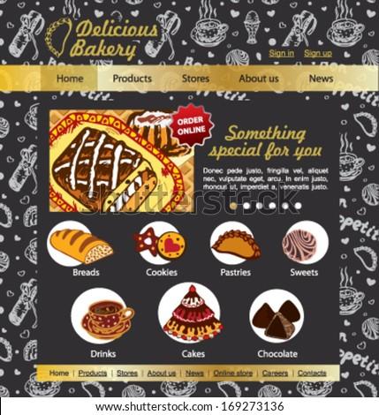 Sweet Shop, bakery and patisserie website vector template on the blackboard - stock vector