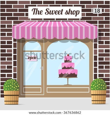 Sweet shop (candy store, confectionery store) building facade. A big cake in the shop window. EPS 10 vector. - stock vector