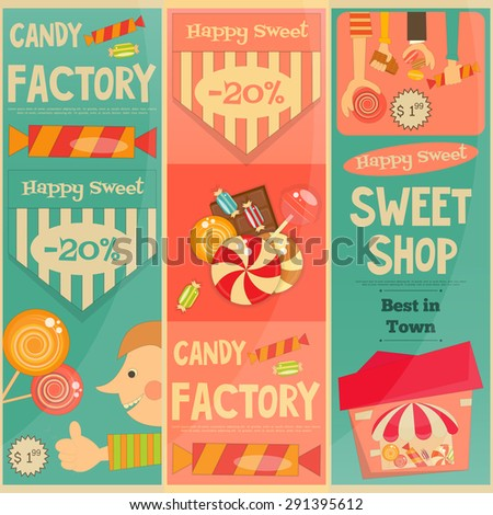 Sweet Shop Mini Vertical Posters Set in Retro Style. Advertising Candy Store. Vector Illustration. - stock vector