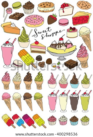 Sweet Shoppe Vector Illustrations - Set of Delicious Dessert Items Including Ice Cream, Cake, Sundae, Popsicles, Candy and Cupcakes. - stock vector