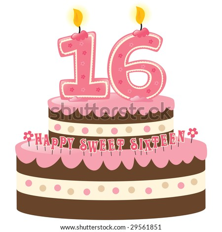 Sweet Sixteen Birthday Cake with Numeral Candles Isolated - stock vector