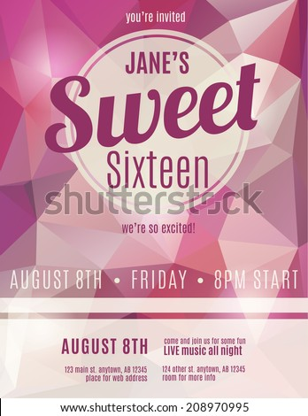 Sweet Sixteen Party Invitation Flyer Template Stock Vector HD ...