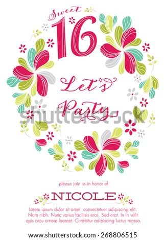 sweet sixteen party invitation template vector stock vector