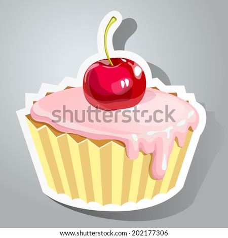 Sweet sticker with cupcake - stock vector
