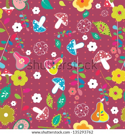 sweet summer floral garden seamless pattern - stock vector