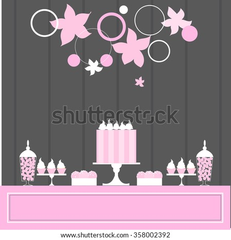 Sweet table with cake and cupcakes. Wedding dessert bar. Pink colors. Vector illustration.