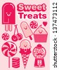 sweet treats/ desserts/ sweet stuffs/ candy template vector/illustration - stock vector