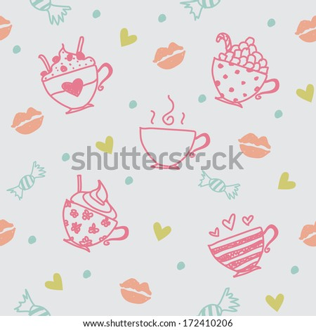 Sweet valentine's pattern - stock vector