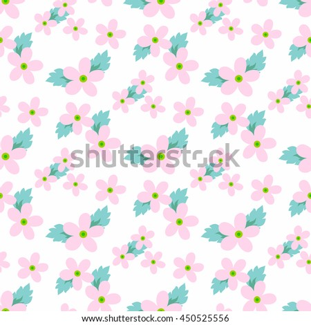 Sweet vector pattern with small flower. Small cute pink flowers on a white background. - stock vector
