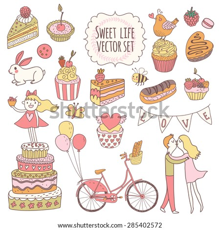 Sweet vector set in awesome colors. Cakes, tasty cupcakes, eclair, with chocolate and berries in stylish vintage style. Lovely vector card with couple of lovers, birds, rabbit and hipster bicycle