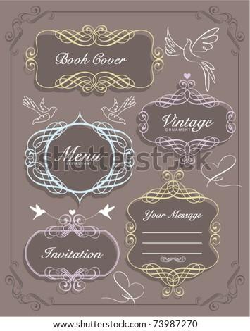 sweet vintage frames set - stock vector
