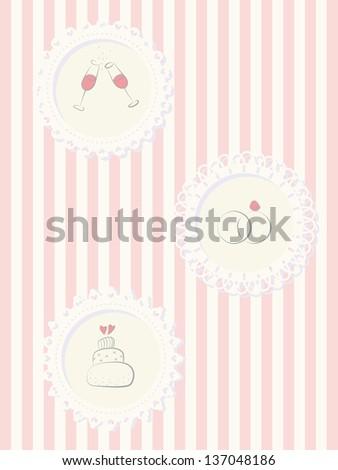 Sweet wedding invitation card - stock vector