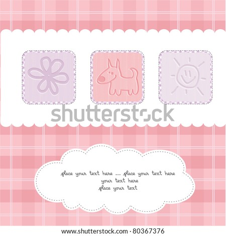 Sweet Welcome the New Baby Card - stock vector