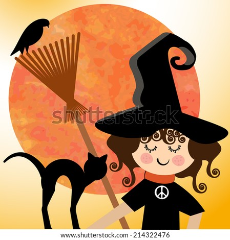 Sweet  witch with peace sign and pets  and spooky grunge moon - stock vector