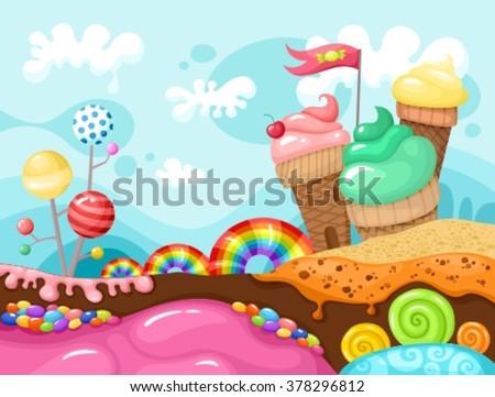 sweet world illustration - stock vector