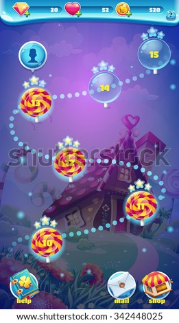 Sweet world mobile game user interface stock vector 342448025 sweet world mobile game user interface gui map screen video web games gumiabroncs Choice Image