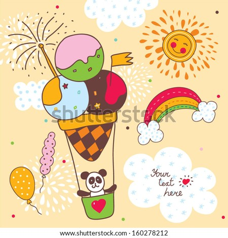 Sweetheart postcard with panda flying on an air balloon. - stock vector
