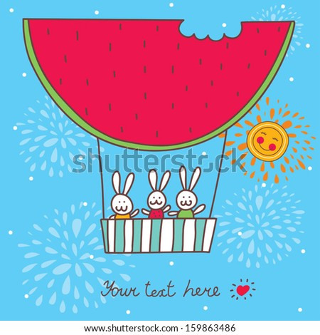 Sweetheart postcard with rabbits flying on an air balloon. - stock vector