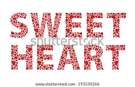 Sweetheart red love hearts text - stock vector