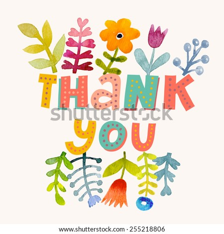 Sweetly pretty thank you card in vector. Awesome flowers made in watercolor technique. Bright romantic card with summer flowers. Fabulous thank you concept design - stock vector