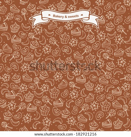 Sweets and bakery seamless background. Hand drawn cakes and bakery dessert - stock vector