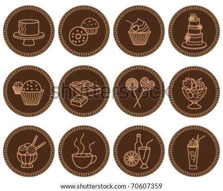 Sweets and beverages icons set - stock vector