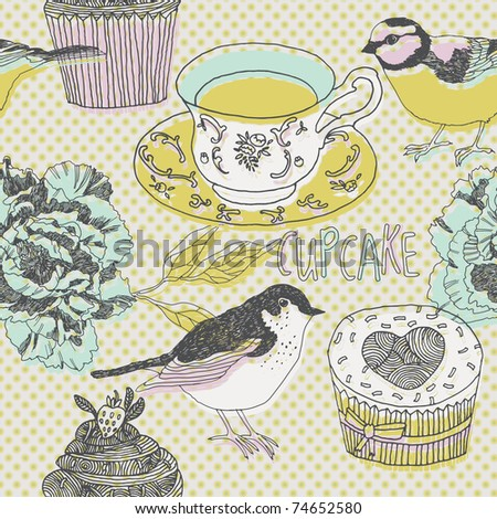 sweets and birds. seamless pattern design - stock vector
