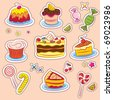 Sweets and cakes Stickers - stock vector