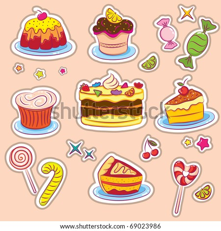 Sweets and cakes Stickers