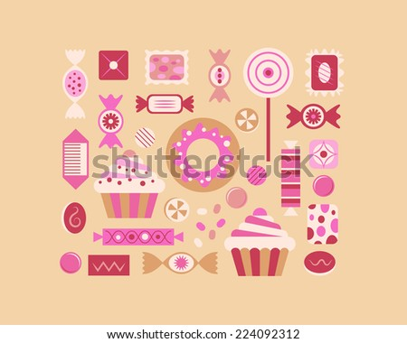 Sweets and candies icons set. - stock vector