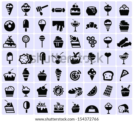 Sweets and chocolate icons - stock vector