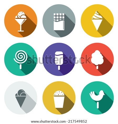 Sweets and ice cream flat icon set - stock vector