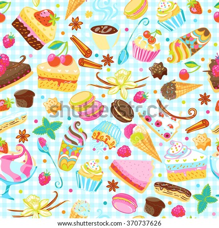 Sweets and pastry seamless pattern. Tart, macaroon, icecream, cookie, cake, spices  endless vector background.