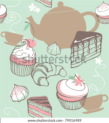 Sweets and tea. seamless background - stock vector