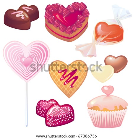 Sweets collection for Valentine's day - stock vector