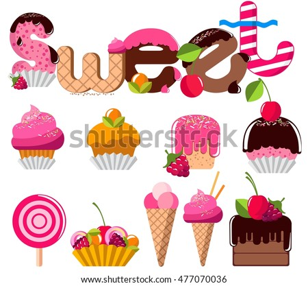 Sweets, dessert, candy. Vector illustration.