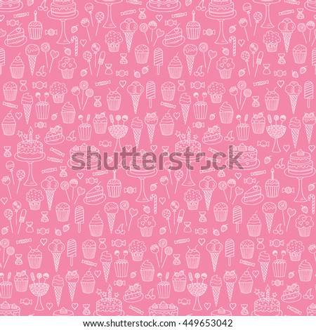 Sweets hand drawn doodle vector seamless background. Dessert illustrations pastries, birthday cake,  cupcake, ice cream, candy, lollipop, chocolate.