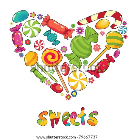 Sweets heart. Vector illustration with different types of sweets