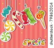 Sweets on strings. Vector illustration. - stock vector