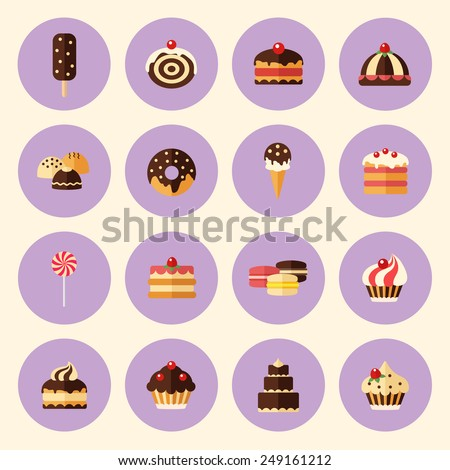 sweets, pastry, chocolate, cake, cupcake, ice cream, macaroon, donut, lollipop. set of desserts icons in fat style - stock vector