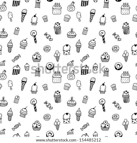 Sweets seamless pattern - stock vector