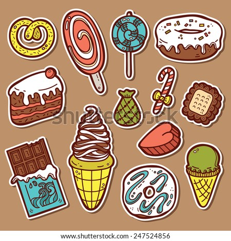 sweets stickers set. First part of vector doodle collection of hand drawn sweets  icons